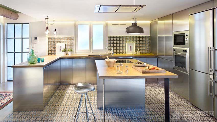 现代简约公寓橱柜不锈钢橱柜效果图