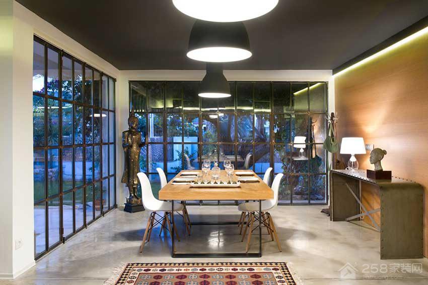 开放式简约餐厅原木色四人长餐桌图片