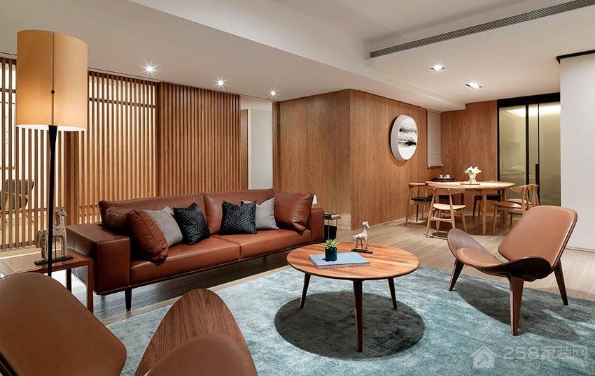 日式风客厅原木色圆形茶几效果图