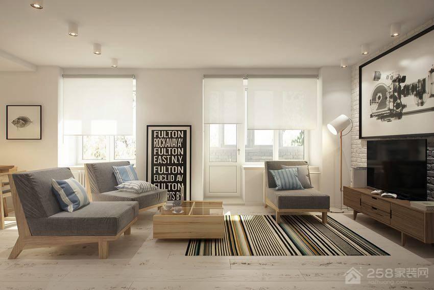 北欧风单身公寓客厅灰色单人沙发椅图片