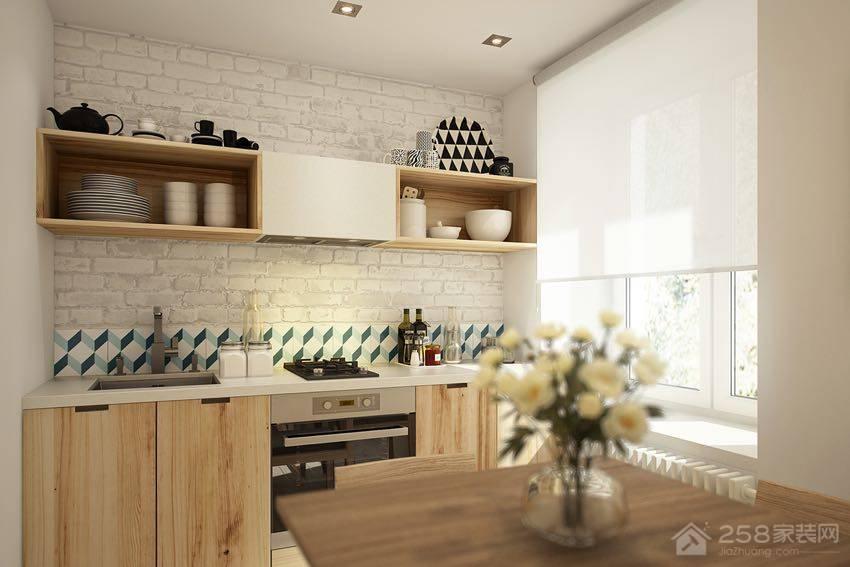 北欧风公寓厨房原木色橱柜门板图片