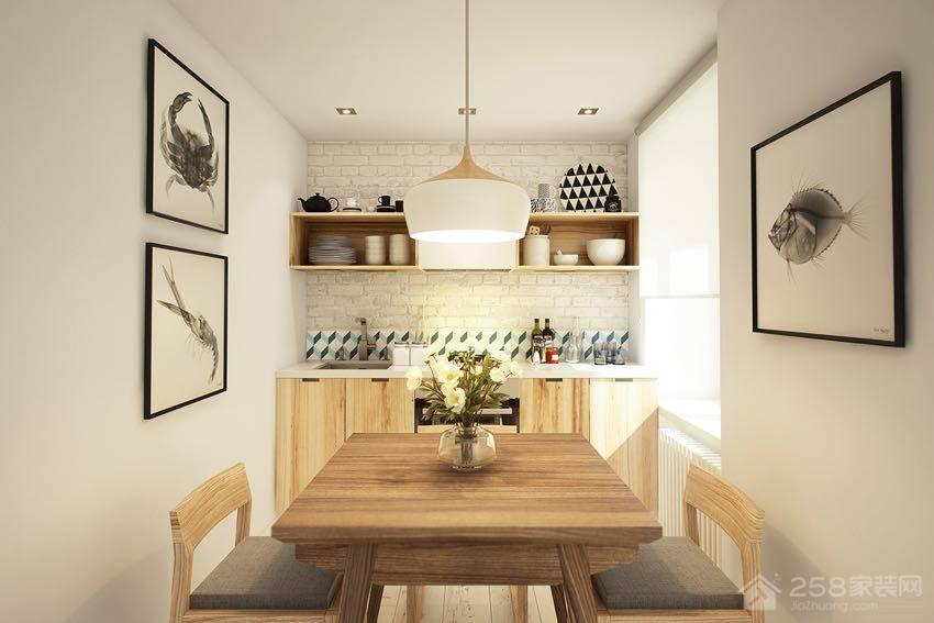 北欧风餐厅原木色家庭餐桌椅效果图