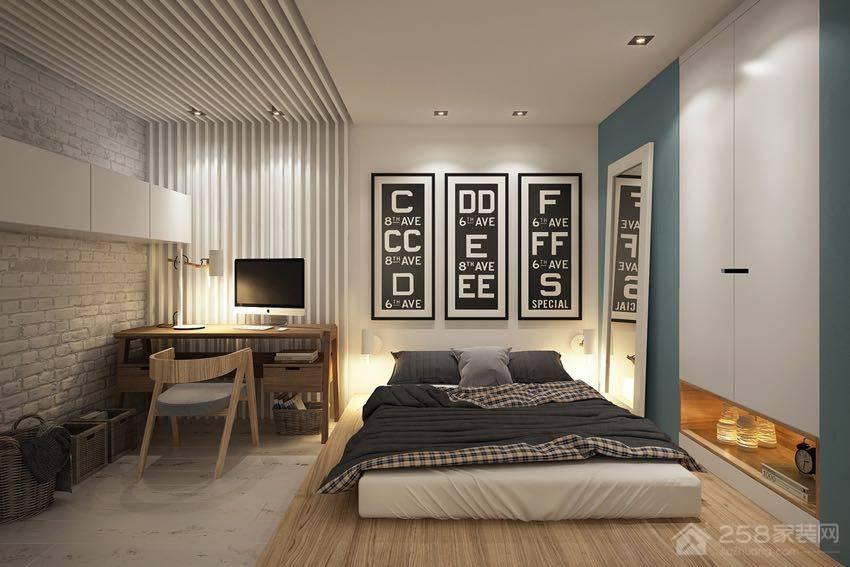 北欧风单身公寓卧室欧式双人床效果图