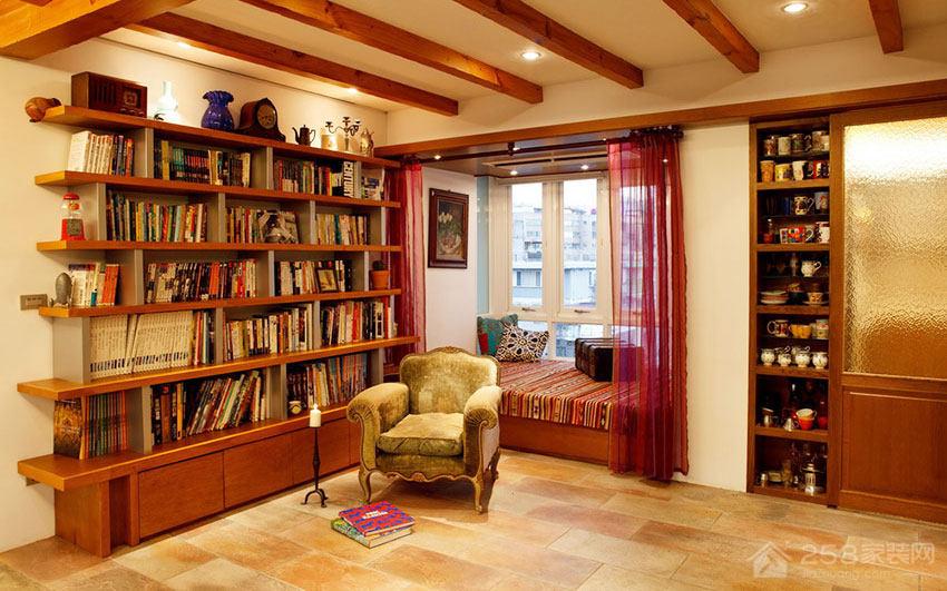 温馨Loft公寓书房原木色实木书柜效果图