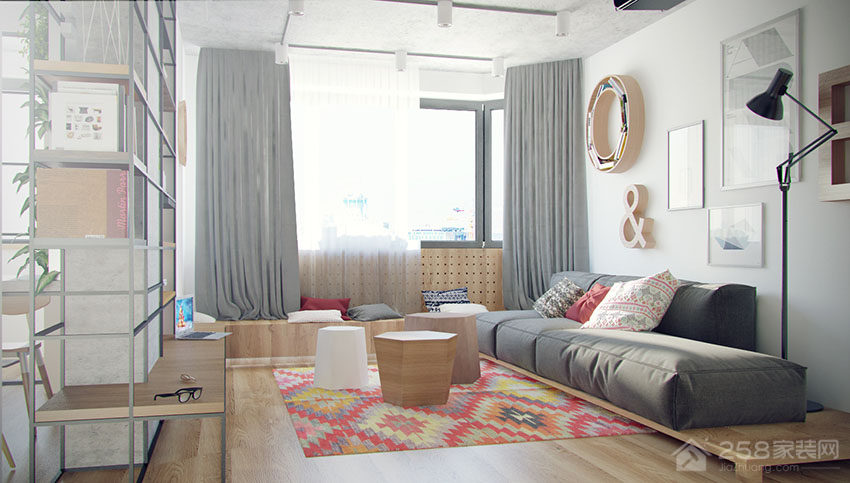 清新工业风客厅灰色客厅布艺窗帘图片