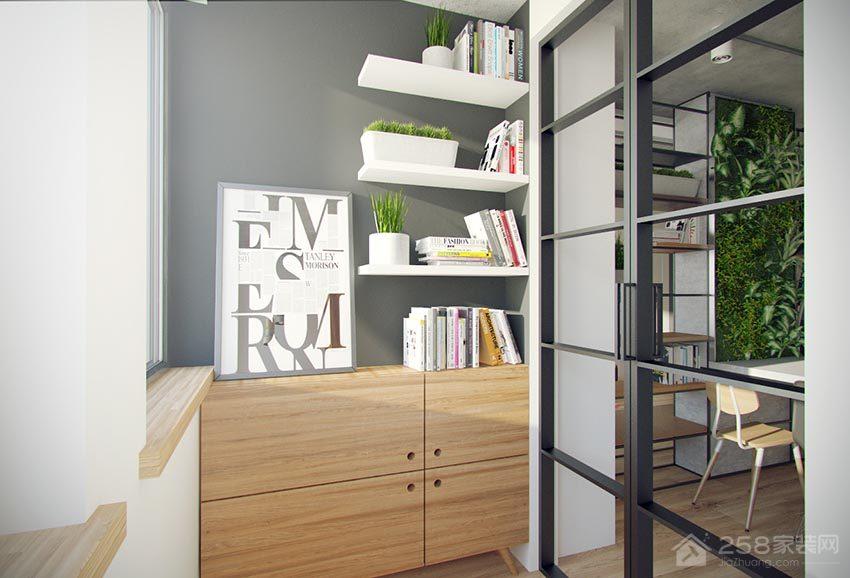 现代工业风休闲区原木色书柜效果图