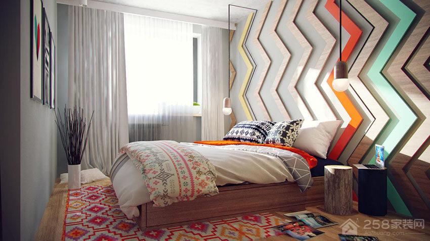 清新工业风公寓卧室双人床效果图