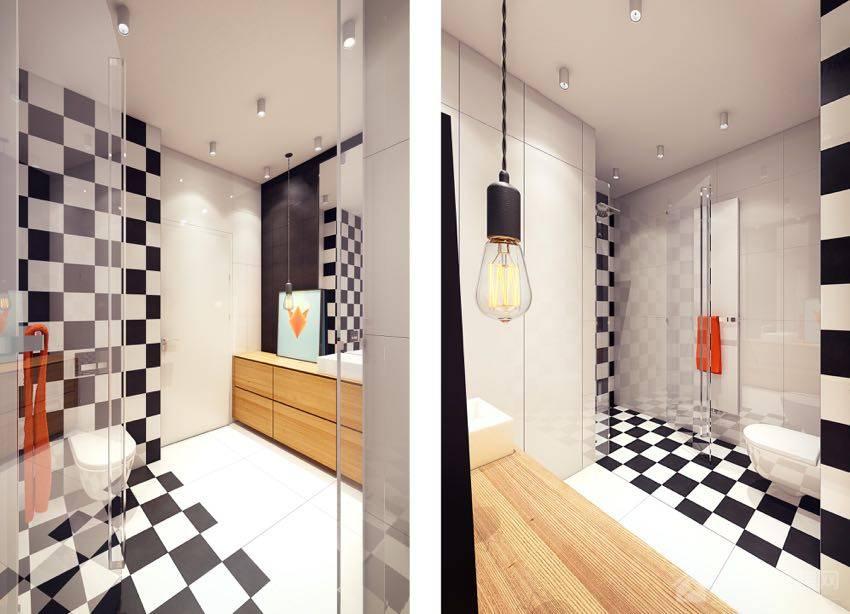 北欧风公寓卫生间原木色实木浴室柜图片