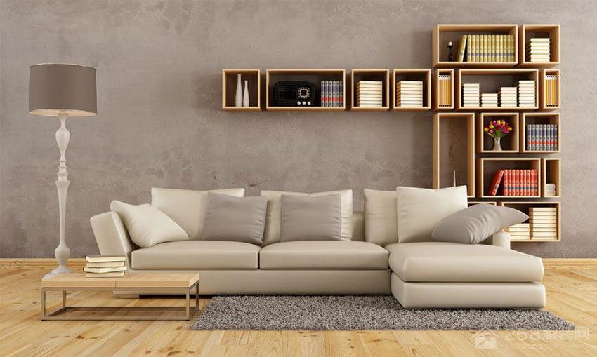 清新自然简约风客厅转角沙发设计图