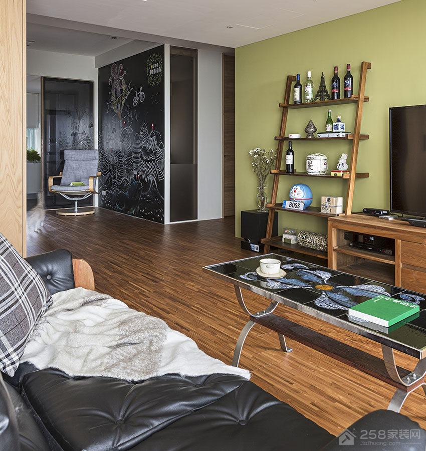 新竹35坪草绿色的现代居家装修效果图