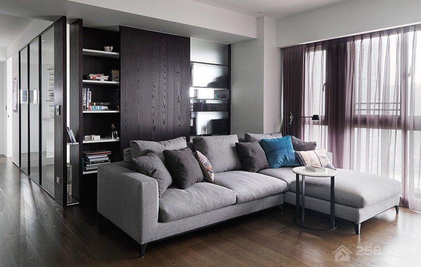 简约灰色客厅布艺转角沙发效果图