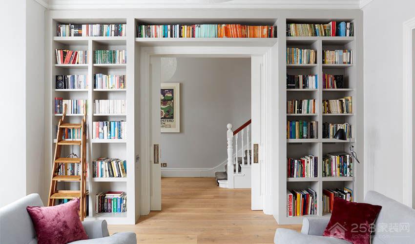 现代客厅白色书柜图片