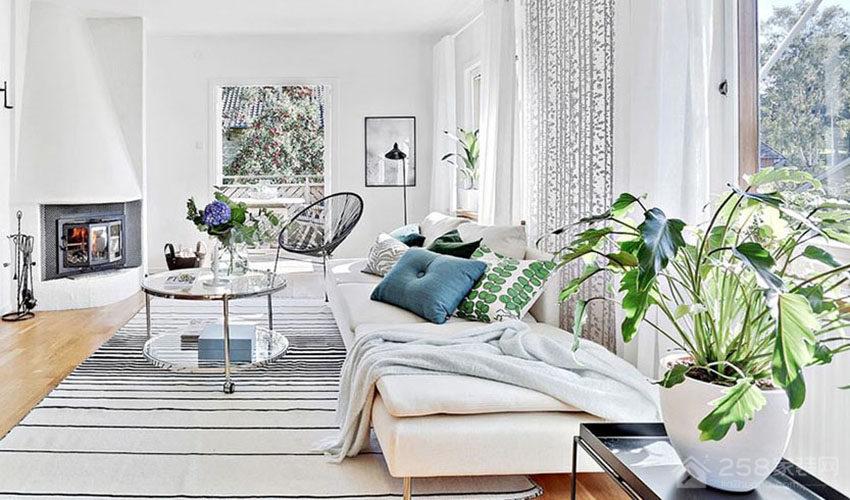 清新北欧风客厅米色布艺沙发效果图