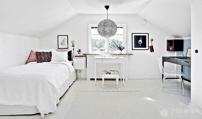 清新北欧风格卧室单人床效果图
