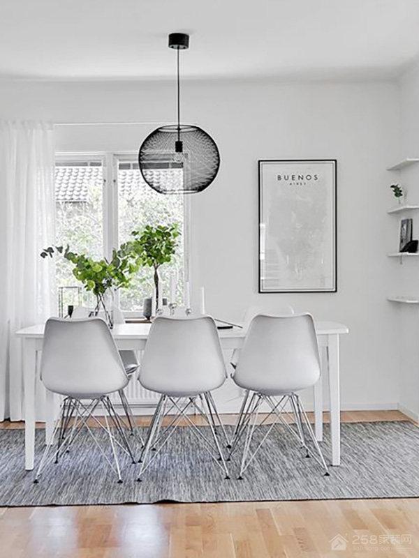 时尚北欧风餐厅白色六人长餐桌图片