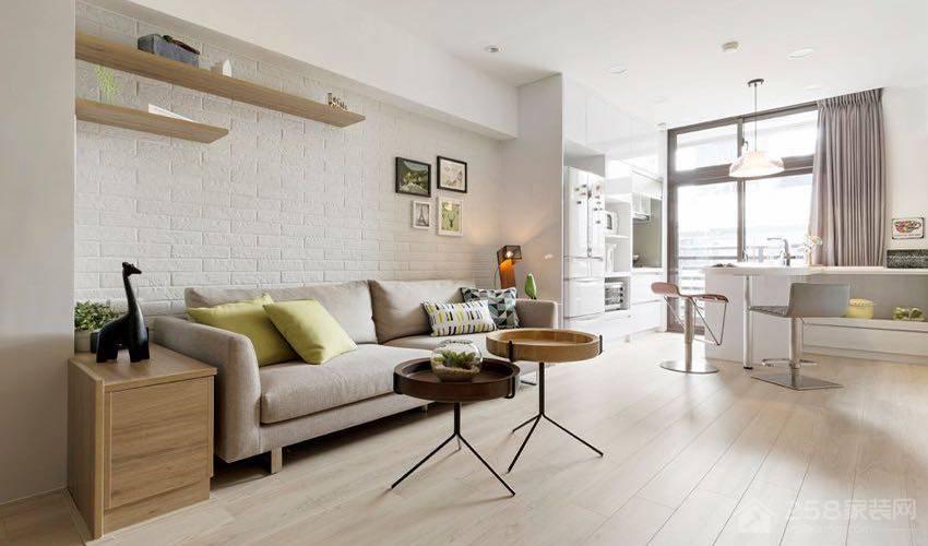 北欧风夹层住宅客厅米色现代布艺沙发图片