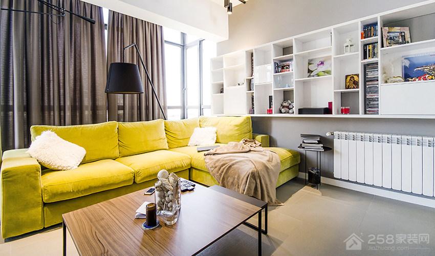 北欧风复层公寓客厅背景墙置物架效果图