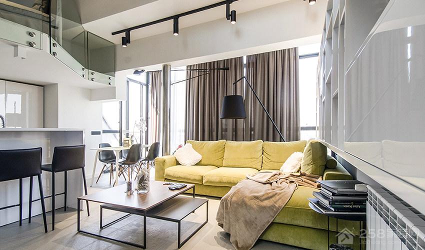 北欧风公寓客厅黄色现代布艺沙发图片