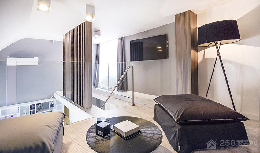 北欧风现代复层公寓休闲区阅读角图片