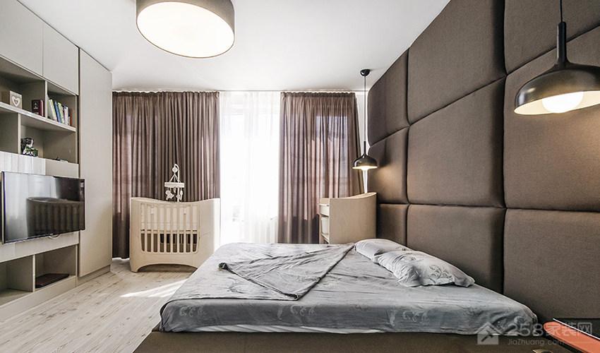 北欧风现代复层公寓卧室欧式双人床展示图