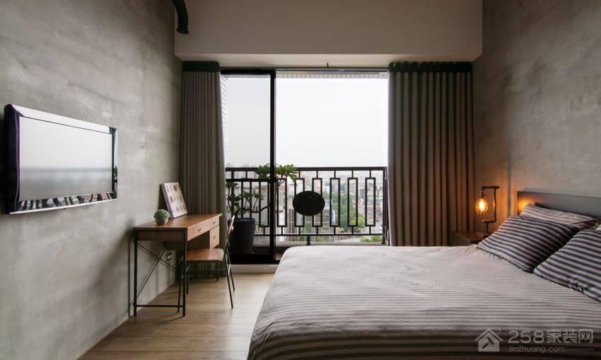Loft工业风卧室灰色简约双人床展示图