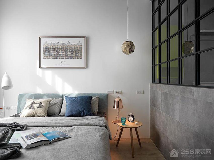 工业风公寓卧室双人床效果图