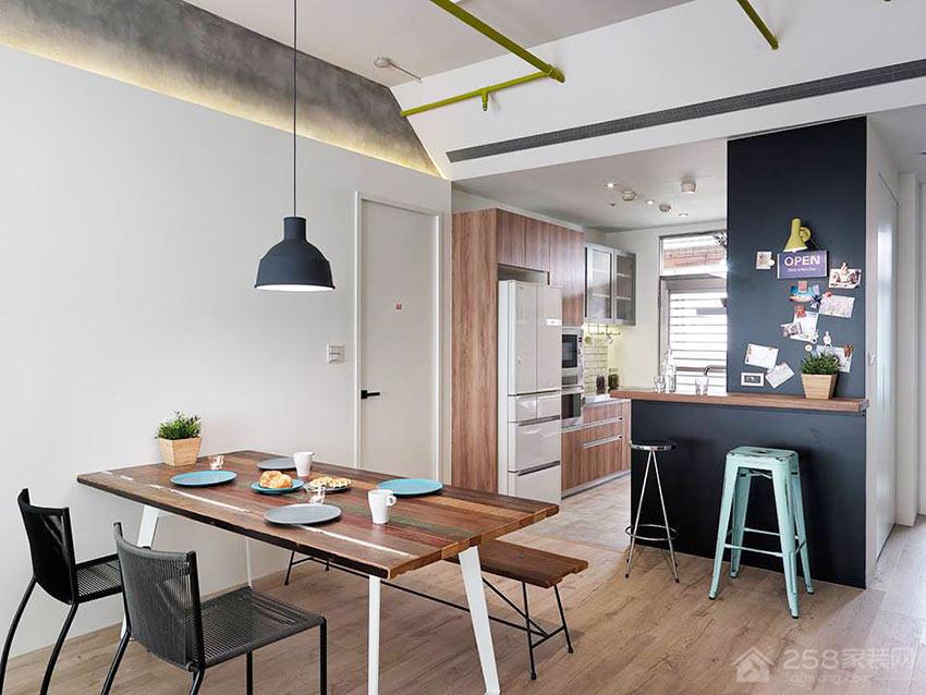 现代轻工业风餐厅原木色六人长餐桌图片