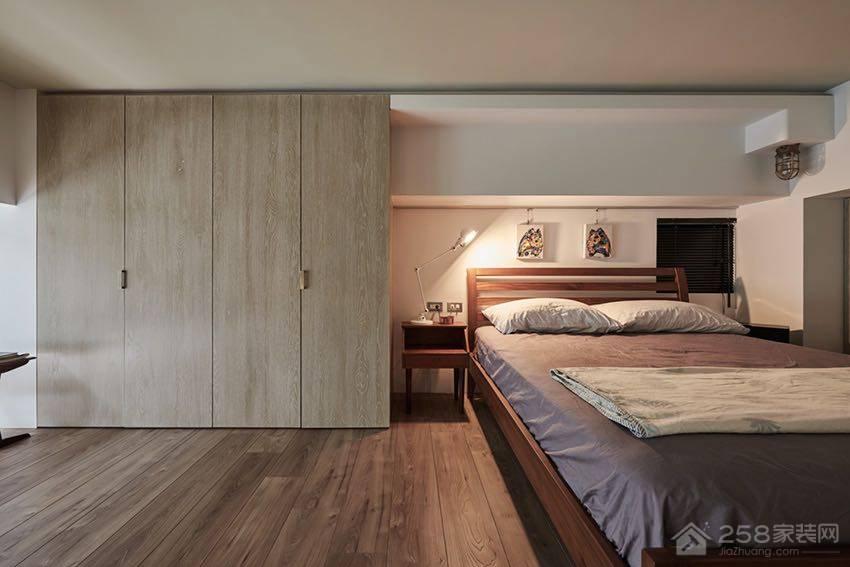 现代工业风卧室双人床展示图