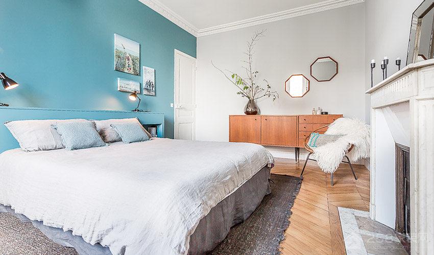 时尚现代卧室布艺双人床展示图