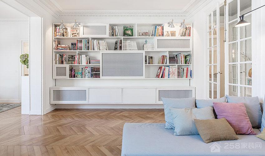 时尚公寓客厅白色书柜展示图