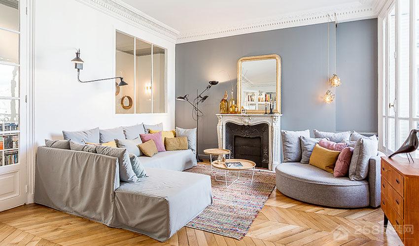 老屋翻新公寓客厅现代布艺灰色沙发图片