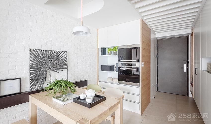北欧亲子宅餐厅原木色四人长餐桌图片