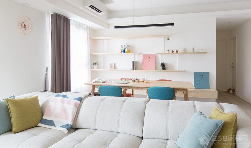 现代小清新客厅背景墙置物架效果图