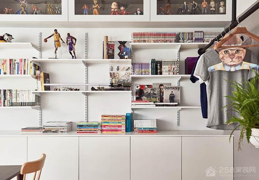 简约时尚书房白色实木书柜展示图