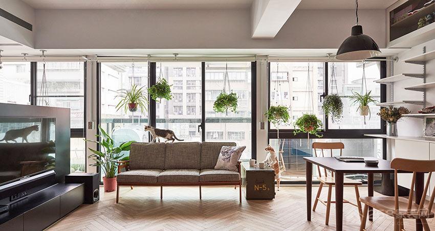 简约客厅现代布艺灰色效果图