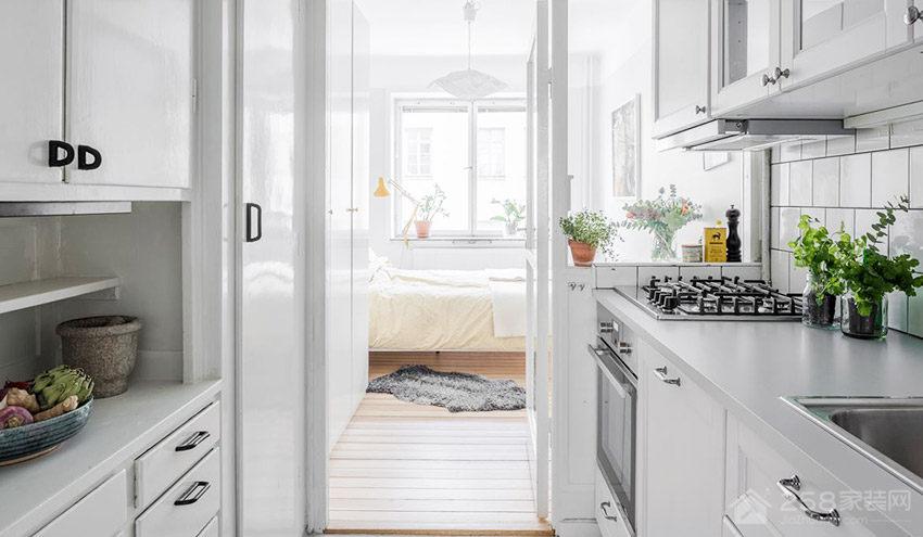 北欧简约厨房白色橱柜门板图片