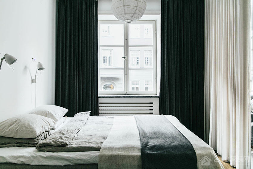 简约卧室飘窗布艺窗帘图片
