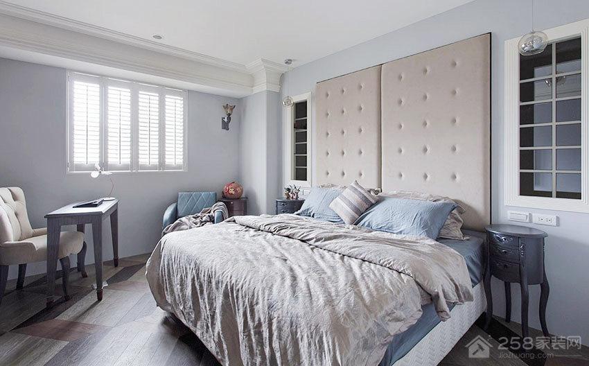时尚卧室灰色双人床效果图
