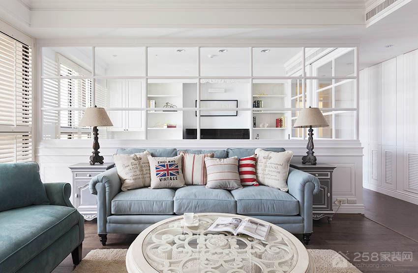 客厅时尚布艺蓝色沙发图片