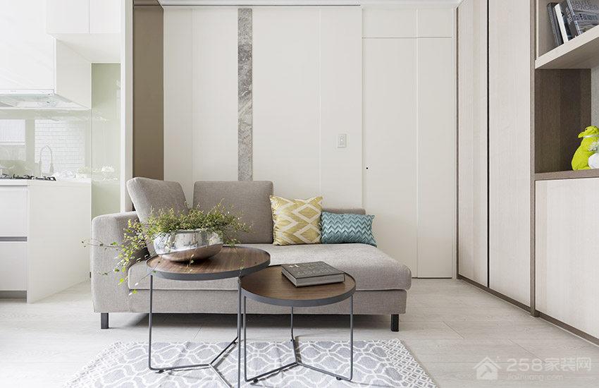 北欧风客厅现代布艺灰色沙发图片