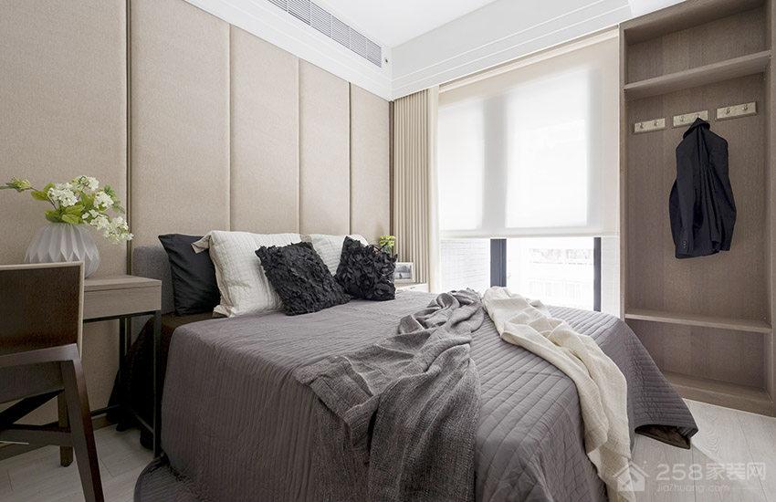 卧室欧式灰色双人床图片