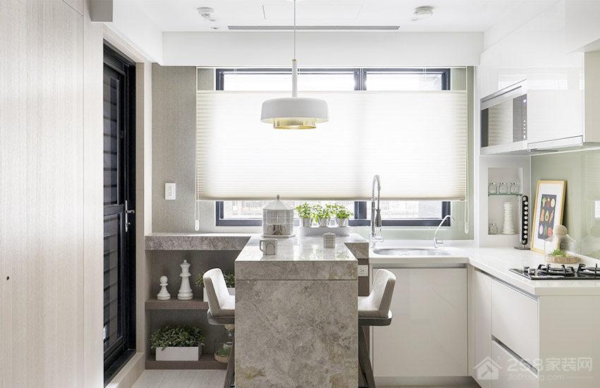 北欧风厨房白色大理石橱柜台面图片