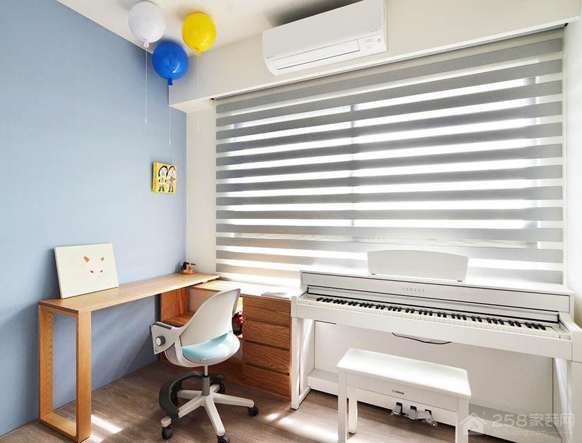 简约儿童房原木色实木书桌书柜图片