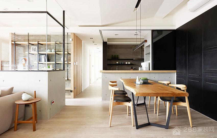 现代简约客餐厅实木餐桌图片