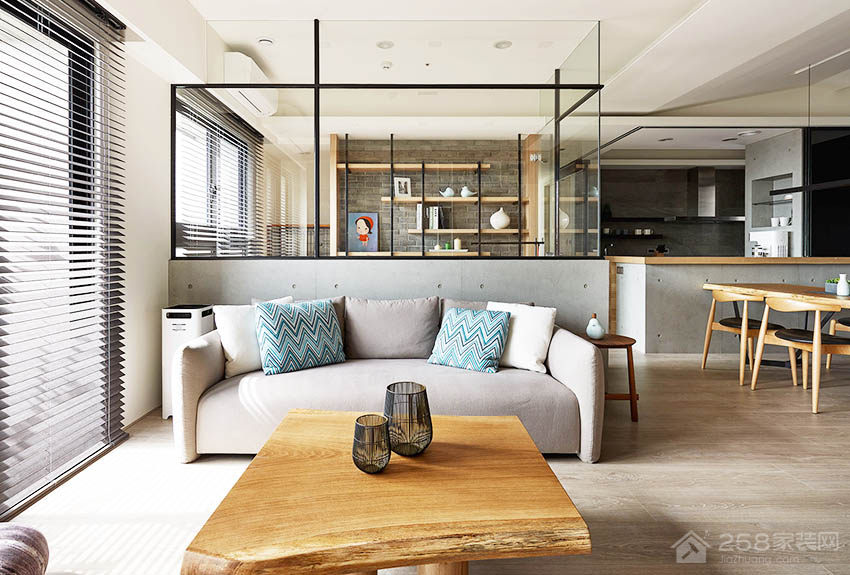 现代客厅玻璃隔断效果图