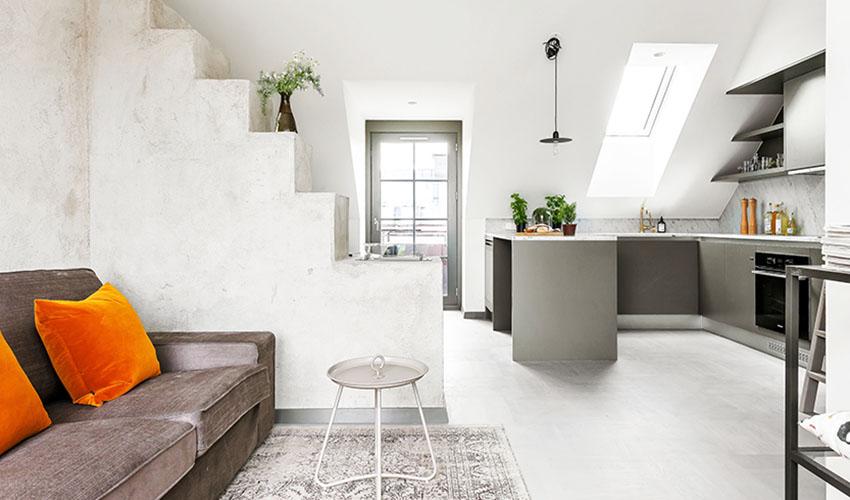 瑞典16 坪单身女子阁楼装修效果图
