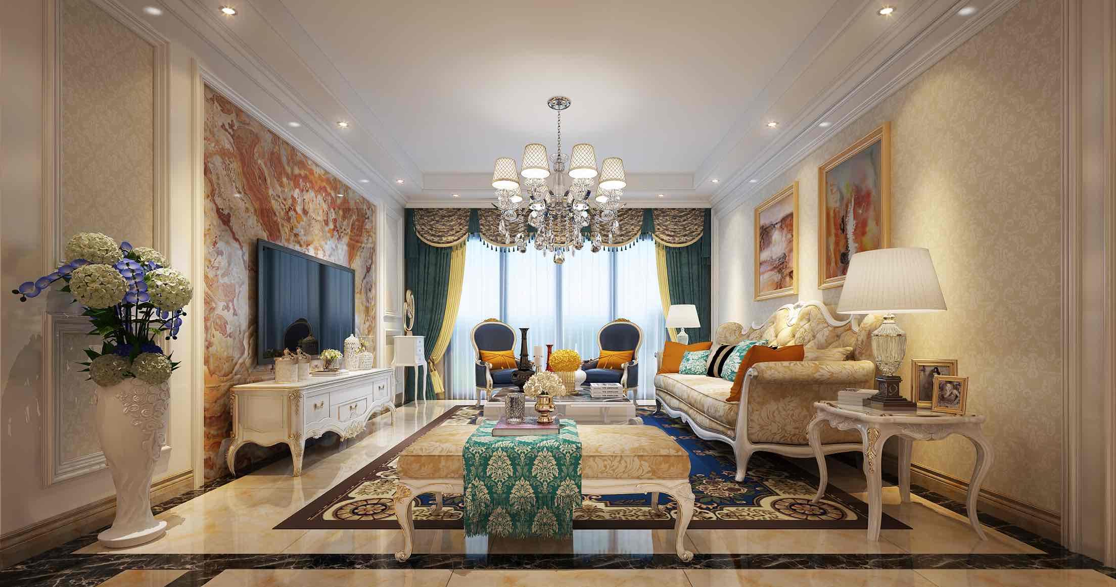 五湖国际3房2厅2卫104平欧式装修效果图