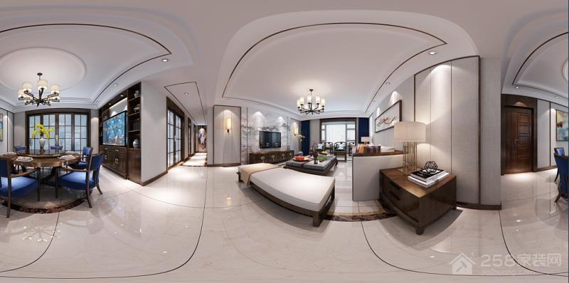 奥园时代新中式三居家装效果图