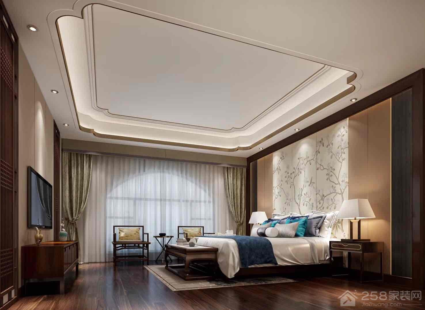 托斯卡纳豪宅中式双人床效果图
