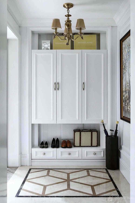 简约白色欧式进门玄关鞋柜设计图